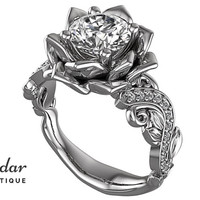 Flower Engagement Ring,Unique Engagement Ring,White Gold Leaves Ring By Vidar Botique,Diamond Engagement Ring,Vintage Ring,Leaves Rings