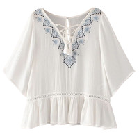 White Embroidery Detail Tie Front Ruffle Blouse