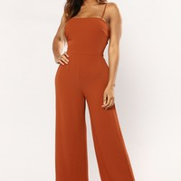 Rewind It Back Jumpsuit - Rust