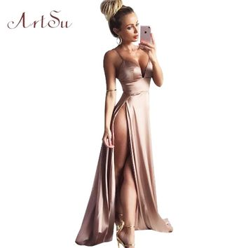 ArtSu Women Satin Long Dresses 2018 Summer Club Party Vestidos Sexy Split Elegant Maxi Dress Slim Spaghetti Strap Robe