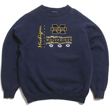 University of Michigan Embroidered Scribble Stars B-Wear Crewneck Sweatshirt Navy (Large)