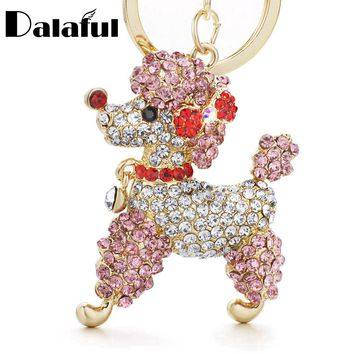 Dalaful Lovely Poodle Dog Bowknot Crystal Keychains Keyrings For Car Women Alloy Purse Bag Key Chain Ring Holder K307