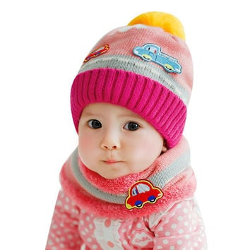 Cute Baby Girl Boy Knitted Hat Scarf Car Pattern Fleece Warm Cap Neck Warmer Two-Piece Gorro Infantil Photography Accessories