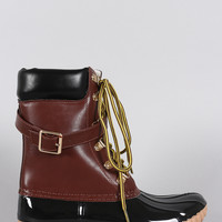 Liliana Buckled Strap Lace Up Duck Ankle Boots