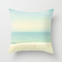 Pillow Cover, Beach Pillow, Turquoise Pillow, Mint Pillow, Summer Pillow, Sea, Sand, Waves, Sky Clouds 16 x 16 or 18 x 18