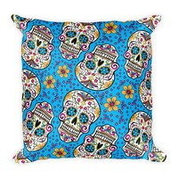 Sugar Skull Day of the Dead TEAL Square Pillow
