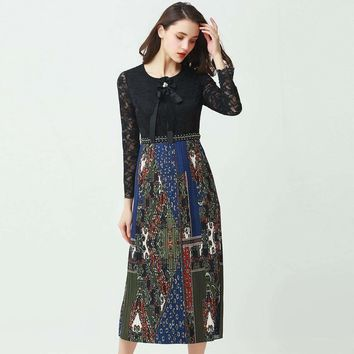 Elegant Lace Patchwork Pleated Dress Full Sleeve O_Neck Print Slim Mid-Calf Length Cute Dress
