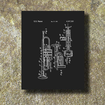 Trumpet Patent Art Illustration Printable Instant Download Print Poster UP002b