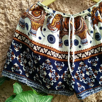 Unisex Shorts Boho Elephants Hobo print Clothing Bohemian Ikat Fashion Chic Unique Beachwear Festival Clothes Summer for Women Men in Blue