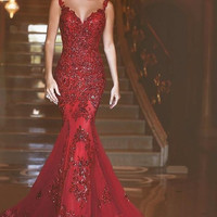 2017 New Arabic Backless Mermaid Evening Dresses 2017 Charming Long Prom Gowns Sequins Sweetheart Lace Applique Formal Cheap