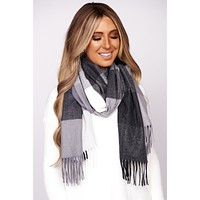 Young Once Plaid Blanket Scarf (Black)