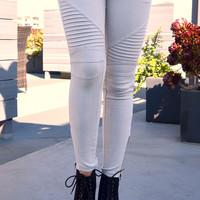 Biker Jeggings - Light Grey