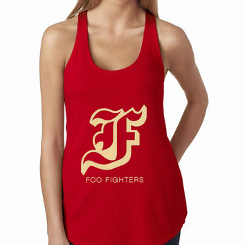 Foo Fighters Red Typography Rock Band Tank Top, Lady Women Fit Tee, Sweater Hoodie Tshirt Tank Top