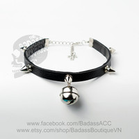 Bad-ass Kitty bell stainless steel spikes black faux leather collar, choker. Cosplay cat lover halloween outfit cat bell punk rock.