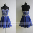 Handmade Sweetheart Royal Blue Homecoming Dress/ Cocktail Dress With Sequins/ Short Homecoming Dress/ Short Prom Dress/ Formal Dress