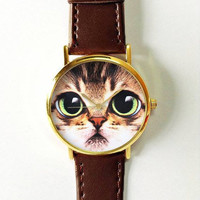Cat Face Watch, Women Watches, Mens Watch, Leather Watch, Boyfriend Watch, Pet Lover, Cat Fashion, Cat Jewelry, Ladies Watch