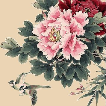 Peony nice flower pigeon picture DIY digital oil painting flowers home decor wall art room decor cotton painting by numbers