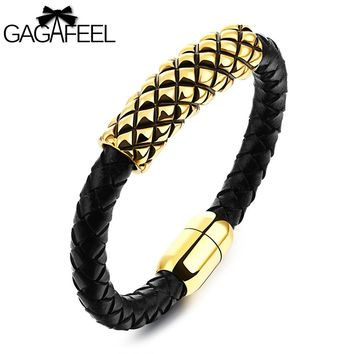 GAGAFEEL Magnetic Bracelet Men Stainless Steel Cowhide Leather Jewelry Golden