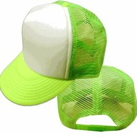 Two Tone Trucker Hats - Neon Green Blank Trucker Cap