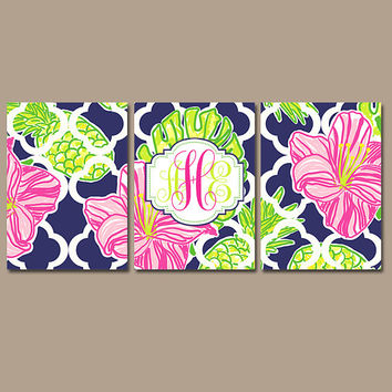 MONOGRAM Wall Art - Hibiscus Pineapples - Floral Artwork - Navy Pink Lime - Lilly Baby Girl Nursery - CANVAS or Print - Set of 3 Decor