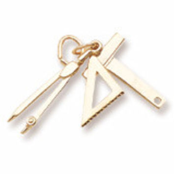 Draftsman Tools Charm in Yellow Gold Plated