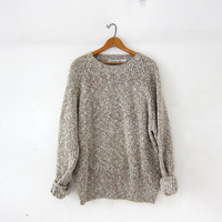 vintage speckled sweater. chunky knit sweater. loose knit sweater. boyfriend pullover sweater.
