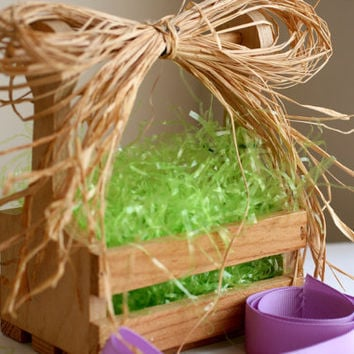Wood Slat Basket, Wood Craft Supplies, Easter Basket.