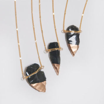 Gold Dipped Black Obsidian Arrowhead Necklace on Gold Chain / Wire Wrap & Gold Glitter / Gold and Black Boho Tribal Handmade Native American