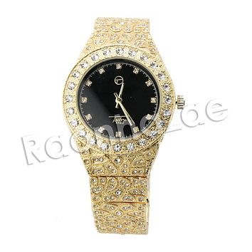 HIP HOP ICED OUT RAONHAZAE JAHKOY LUXURY GOLD FINISHED LAB DIAMOND WATCH