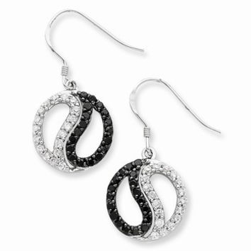 Sterling Silver Black White CZ Yin Yang Dangle Earrings