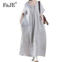 New Brand 2016 Summer Arts Style Womens V-neck Long Dress Loose Casual Short sleeve Dresses Vintage Cotton Linen Dress K968