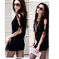 Wholesale Hot Sexy Slender Drawstring Sleeve Dress Black