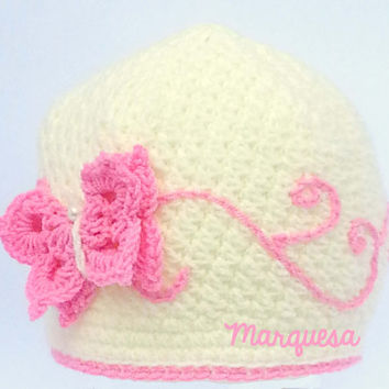 Crochet Girl's Hats - Baby Girl Beanie in Ivory with pink Butterfly and swirls