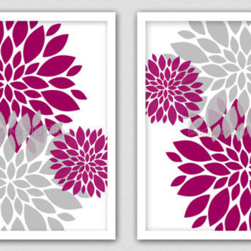 Set of 2 8x10 Prints-Purple and Gray White Flower Burst, Gerbera Daisies, Petals Artwork, Wall Decor, Abstract Art, Flower Silhouette