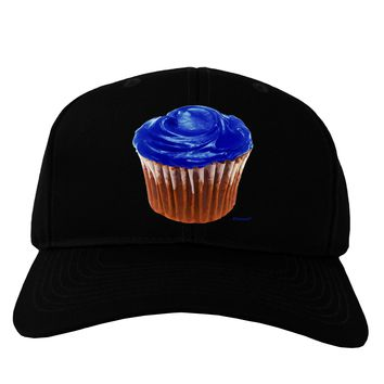Giant Bright Blue Cupcake Adult Dark Baseball Cap Hat by TooLoud