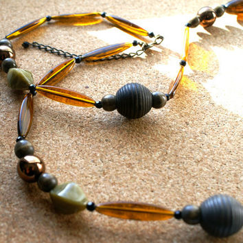 Amber Lucite Necklace with Wooden Beads