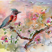Spring Bird Fantasy Watercolor by Ginette Callaway
