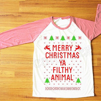 NEW Merry Christmas Ya Filthy Animal TShirt Merry Christmas Shirt Pink Sleeve Tee Shirt Women TShirt Unisex TShirt Raglan Baseball Tee S,M,L