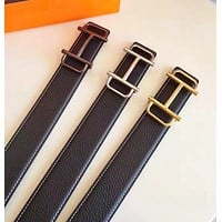 Hermes New fashion H buckle leather couple belt