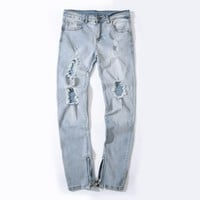Men Ripped Holes Stretch Pants Slim Stylish Denim Jeans [127702663197]