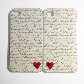 iPhone Case 4/4S - I Love You Tiny Hearts iPhone 4/4S cases