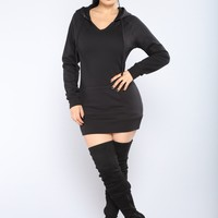 Classic Hoodie Tunic Top - Black