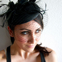 "Black Felt Fascinator - ""Juliet"" Felt Round Sinamay Fascinator Hat with Black Feathers & Black Satin Ribbon Embellishments"
