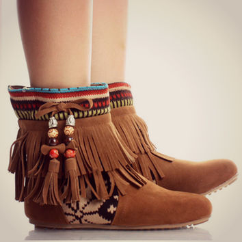 Tribal Fringe Ankle Boots Moccasin Indian Booties Aztec Rustic Fashion Trend
