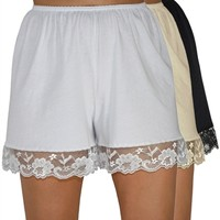 Pettipants Cotton Knit Culotte Slip Bloomers Split Skirt 4-inch Inseam 3-Pack - Underworks