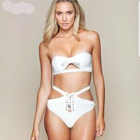 Bow Knot Micro Bikini  White Lace Up High Waist Brazilian  Bathing Suit