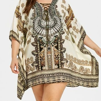 Plus Size Rectangle Graphic Beach Cover Up