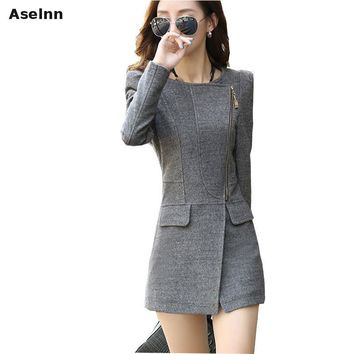 Aselnn 2018 Autumn Winter New Fashion Women Long Woolen Blend Plus Size Slim Wool Coat Winter Black Grey Coat Cashmere