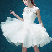 White Lace Layering Sleeveless Prom Puff Dress