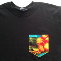 Hawaiian Inspired Tropical Pocket Tee